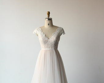 Fairy tale blush pink lace wedding Dress, light wedding gown, beach wedding dress with cap sleeves and slim a line skirt