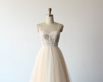 Exquisite A-line tulle lace wedding dress, flowy 3D lace wedding gown with corset top and chapel train