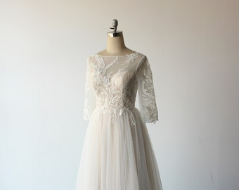 Romantic Aline Bohemian Lace Wedding Dress,high fashion champagne 3D lace wedding gown with illusion back and flowy tulle skirt