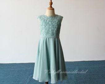 Lovely chiffon lace flower girl dress, scallop lace neckline and V back