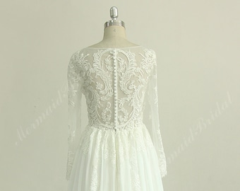 Unique Ivory chiffon lace wedding dress with long sleeves
