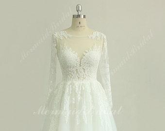 Romantic a line french lace wedding dress with keyhole back and long seelves