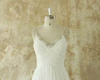 Ivory chiffon A line wedding dress with beading Straps