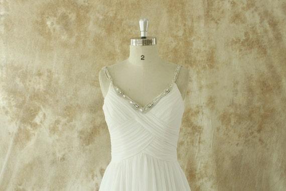 Ivory chiffon A line wedding dress with beading Straps   Etsy