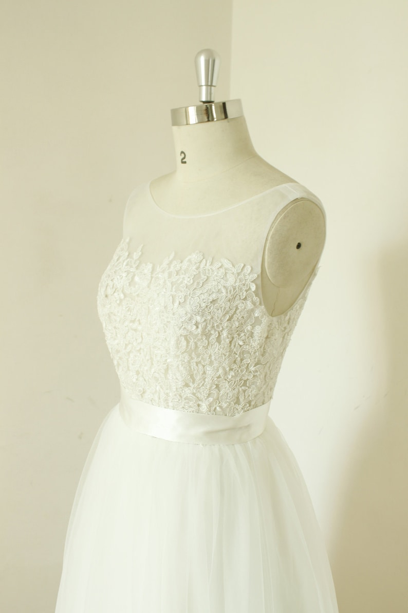 A-line sheer ivory wedding dress lace tulle wedding gown see image 0