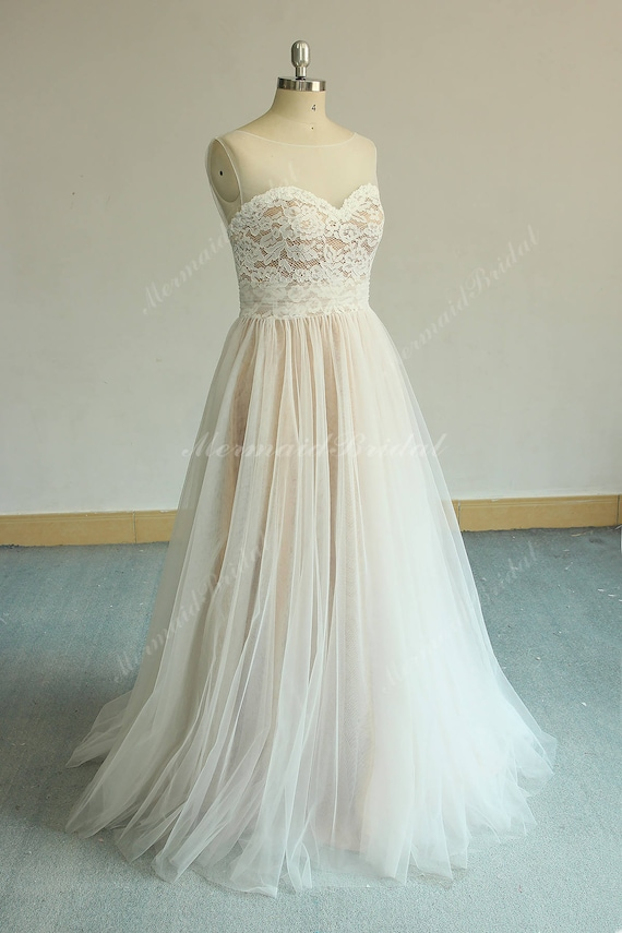 Flowy Aline Tulle Lace Wedding Dress Boho Wedding Dress Etsy