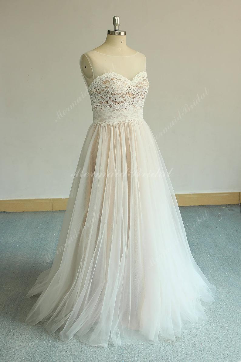 c8bff89a2aca Flowy Aline Tulle Lace Wedding Dress Boho Wedding Dress | Etsy