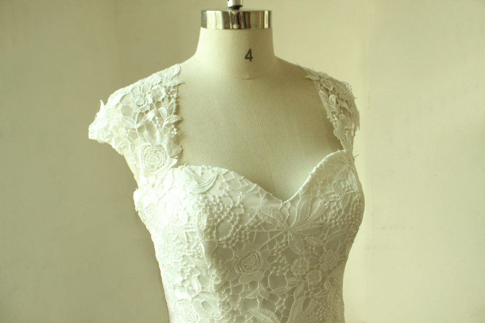Vintage Fit And Flare Lace Wedding Dress With Keyhole Back And Etsy