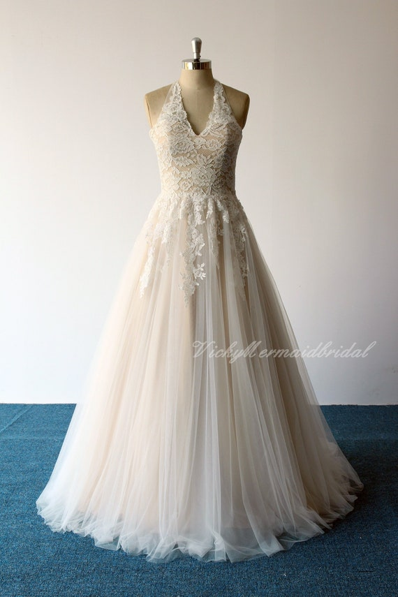 Romantic Vintage Lace Wedding Dress Aline Halter Wedding Dress Bohomian Wedding Dress With Corset Back And Champagne Lining