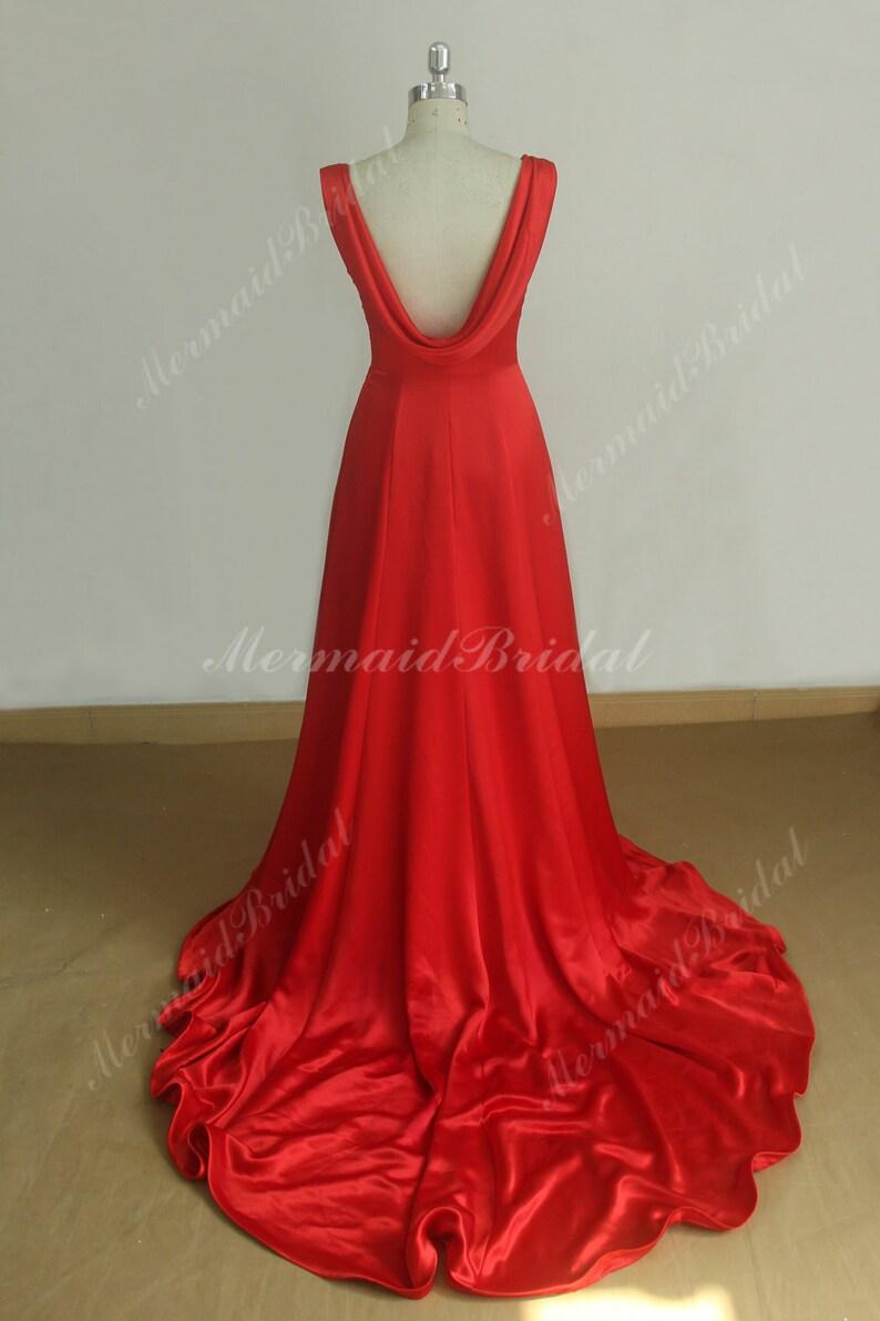 ada020292a0e Flowy open back silk sheath prom dress with chapel train | Etsy