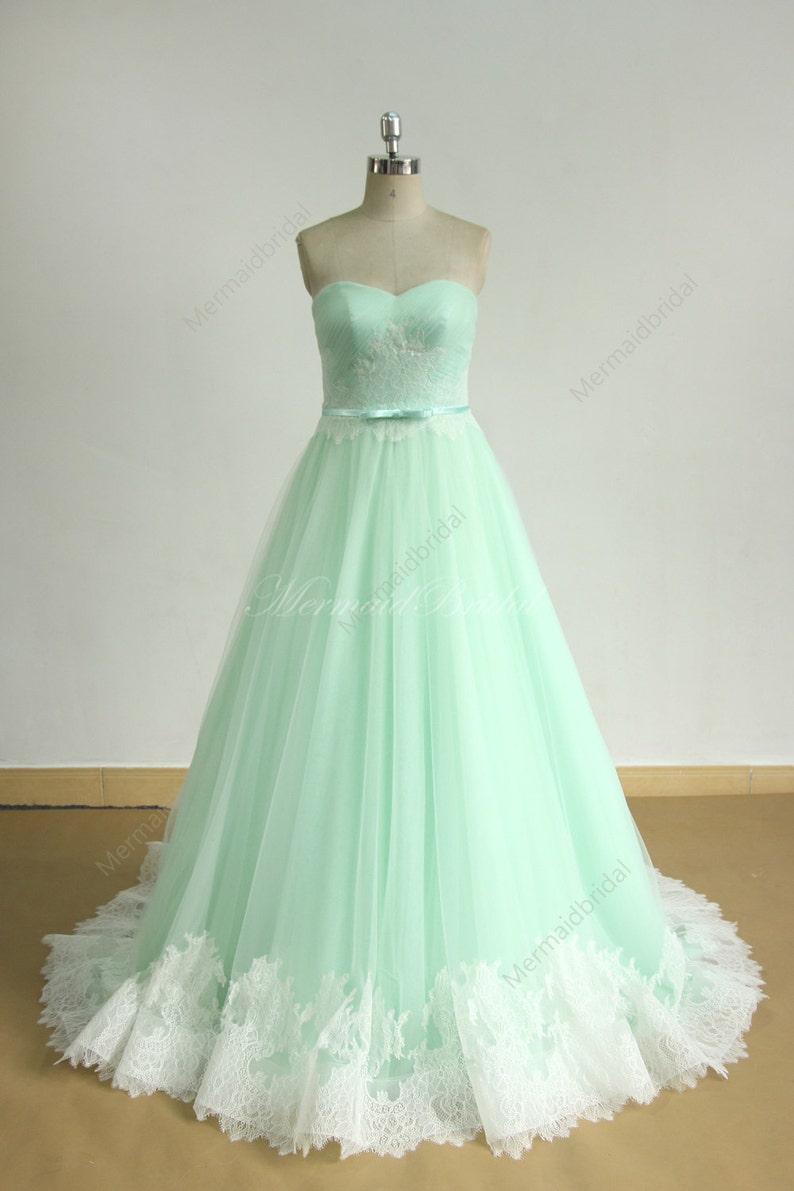 Image 0: Mint Green Wedding Dress At Reisefeber.org
