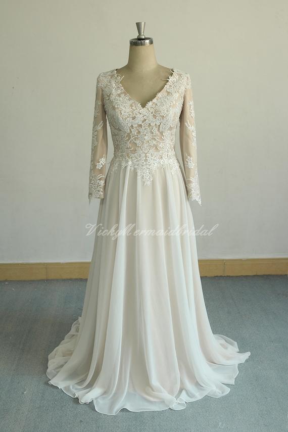 Einzigartige Aline Chiffon Spitze Brautkleid Vintage Spitze Etsy