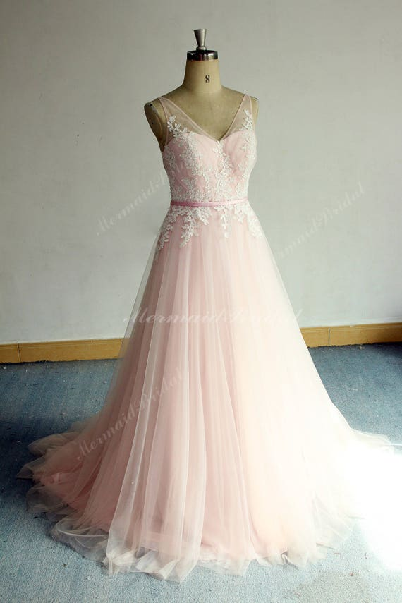 Romantic Aline Pink Tulle Lace Wedding Dress Elegant Vintage Boho Wedding Dress With Deep V Neckline And Open Back