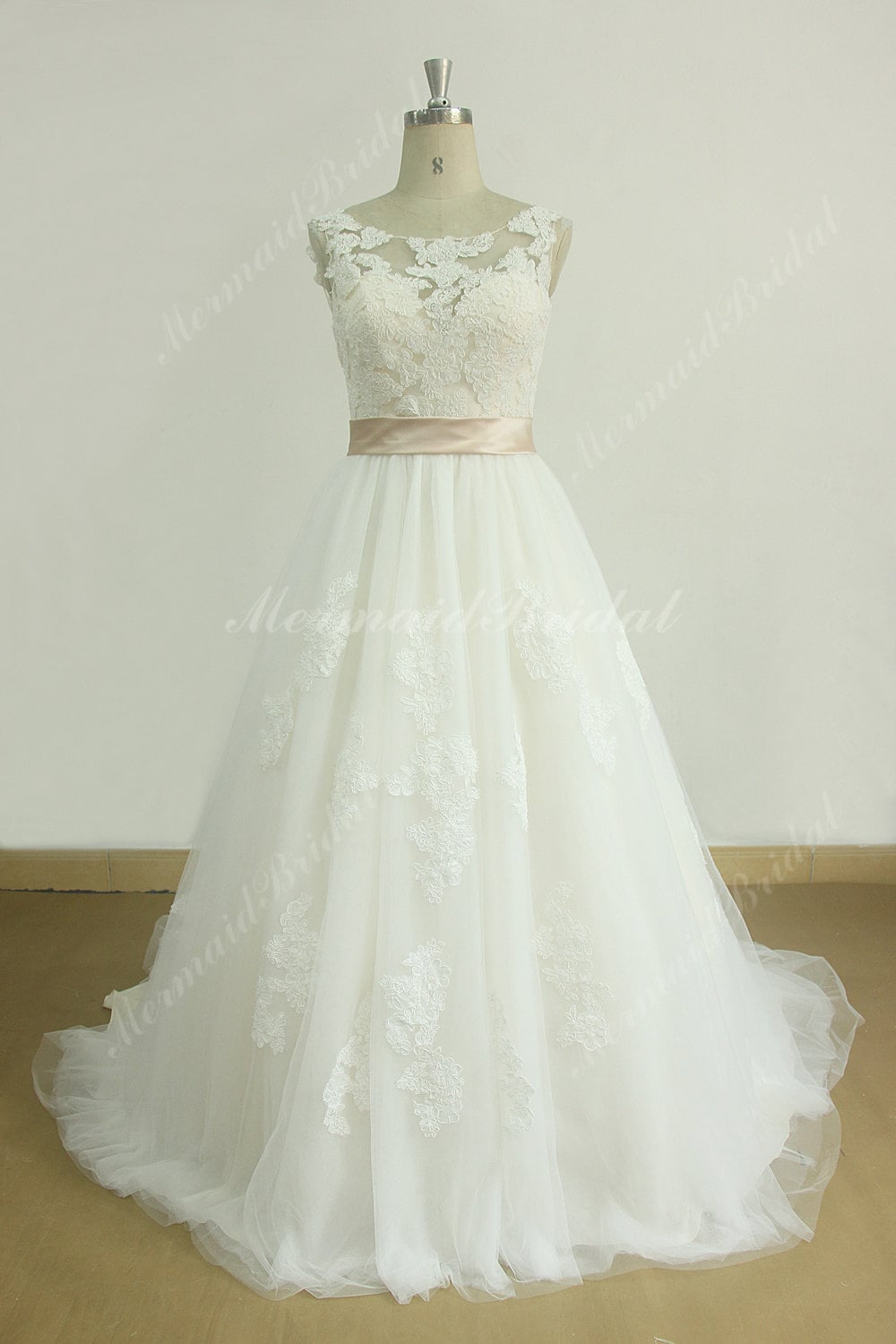 Romantic Ivory A Line Lace Wedding Dress With Blush Lining And Etsy