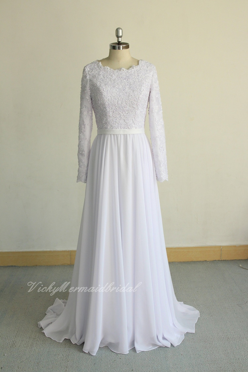 Flowy White Modest Bohemian Wedding Dress Chiffon Lace Etsy