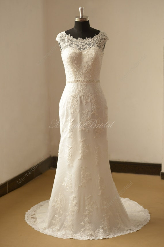 Open Back Fit And Flare Vintage Lace Wedding Dress With Etsy