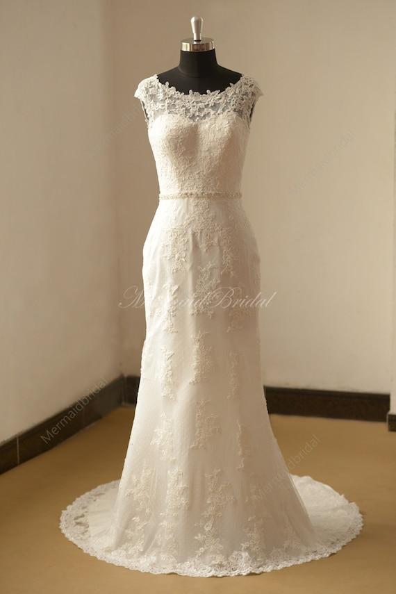 Offener Rucken Fit Und Flare Vintage Spitze Brautkleid Mit Etsy