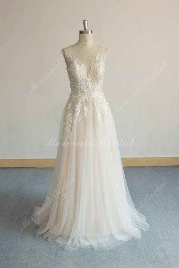 Einzigartige Aline Tüll Spitze Brautkleid elegante