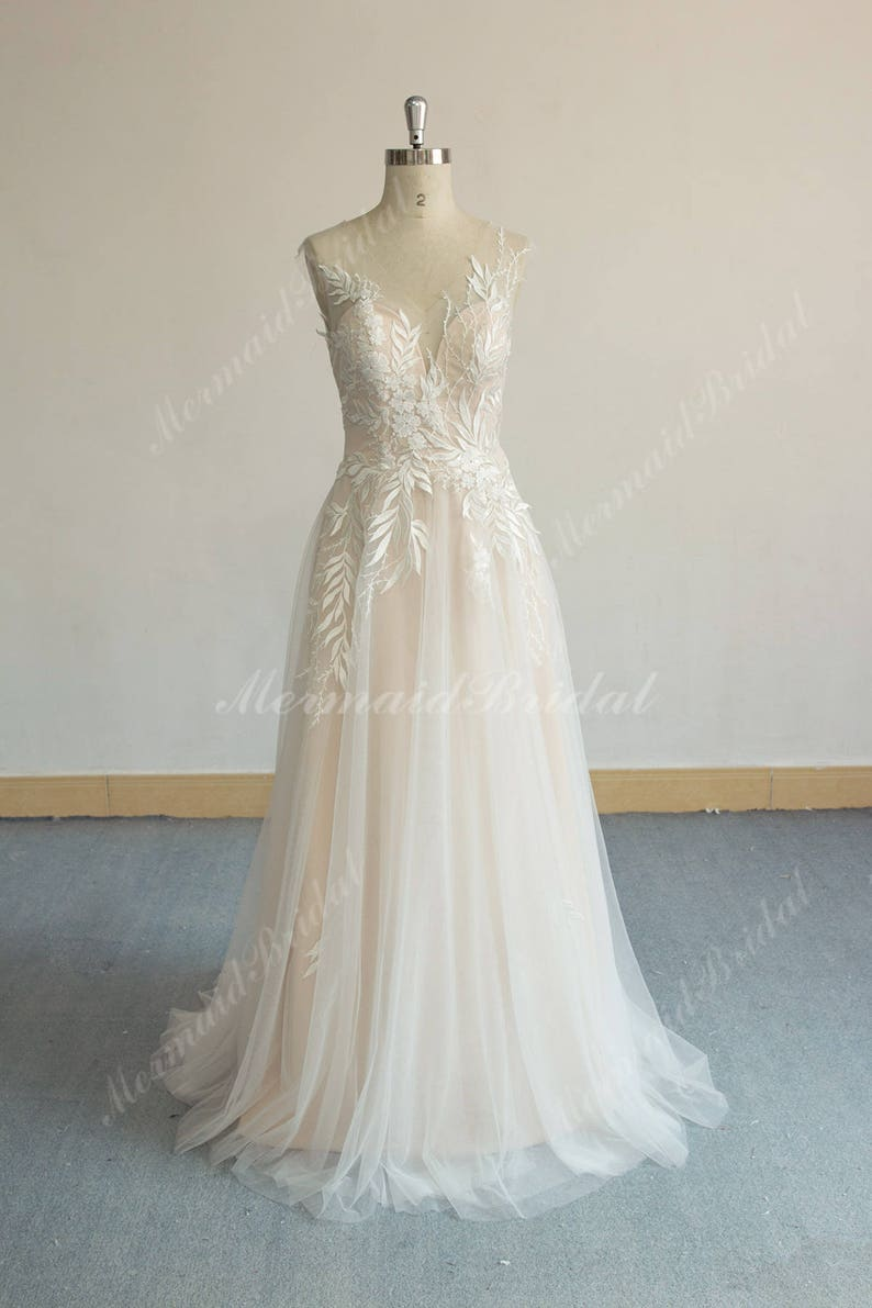 45561e099216 Unique Aline Tulle Lace Wedding Dress Elegant Vintage Boho | Etsy