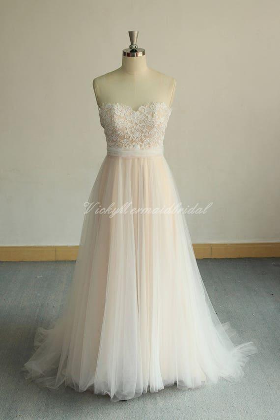 Romantic Aline Tulle Lace Wedding Dress Flowy Boho Wedding Etsy