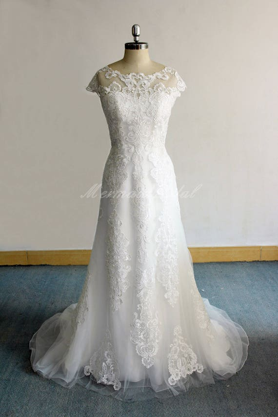 Elegant Fit And Flare Vintage Lace Wedding Dress Boho Wedding Etsy