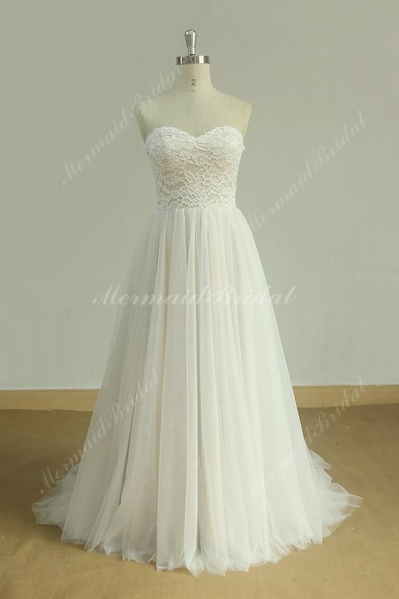 Flowy Aline Tulle Lace Beach Wedding dress destination | Etsy