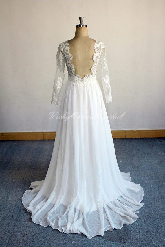 Ivory Open Back Chiffon Lace Wedding Dress Flowy Destination Etsy