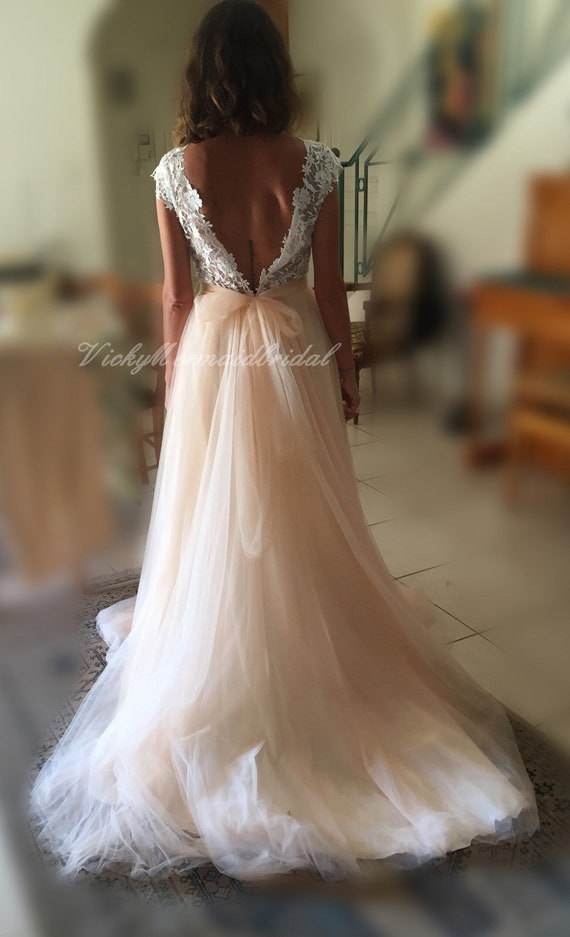 Romantic Aline Tulle Lace Wedding Dress Flowy Bohemian Etsy