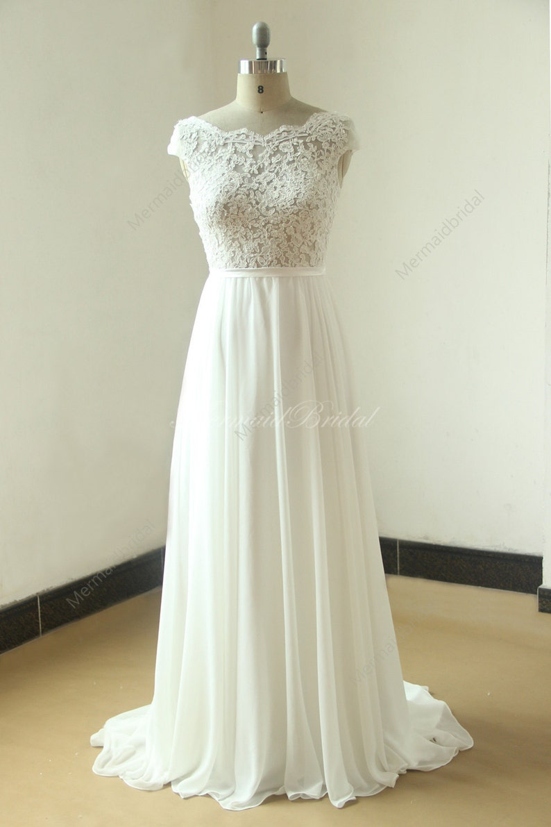 Ivory A Line Chiffon See Thru Sheer Lace Wedding Dress With Etsy