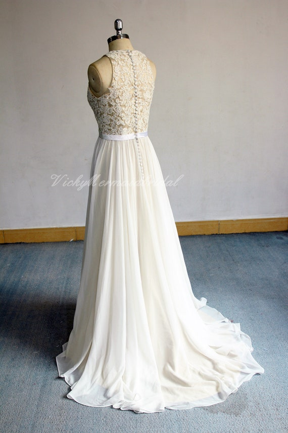 Romantic Aline Chiffon Lace Wedding Dresssleeveless Boho Etsy