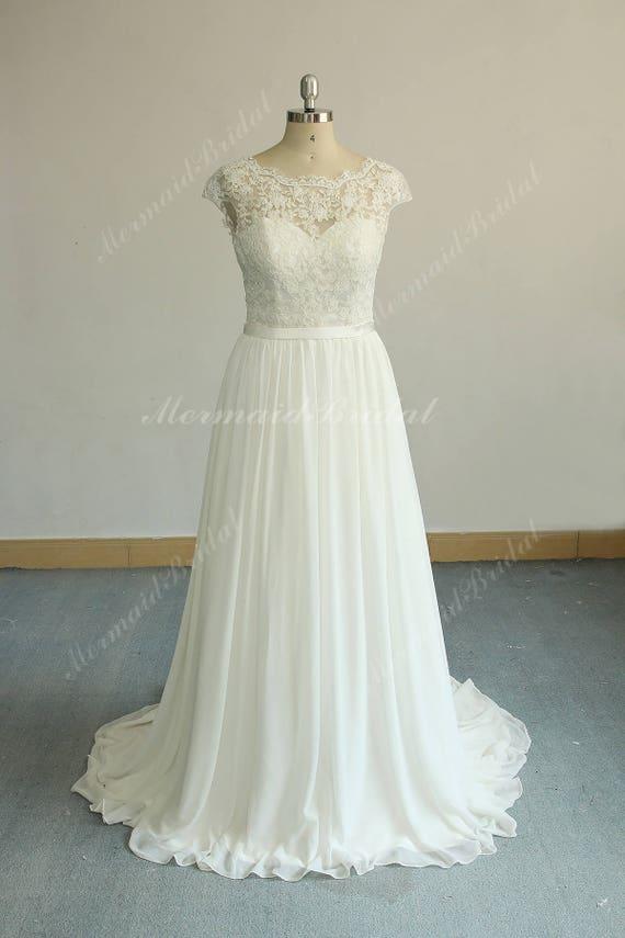Romantic Ivory Aline Vintage Chiffon Lace Wedding Dress Boho Etsy