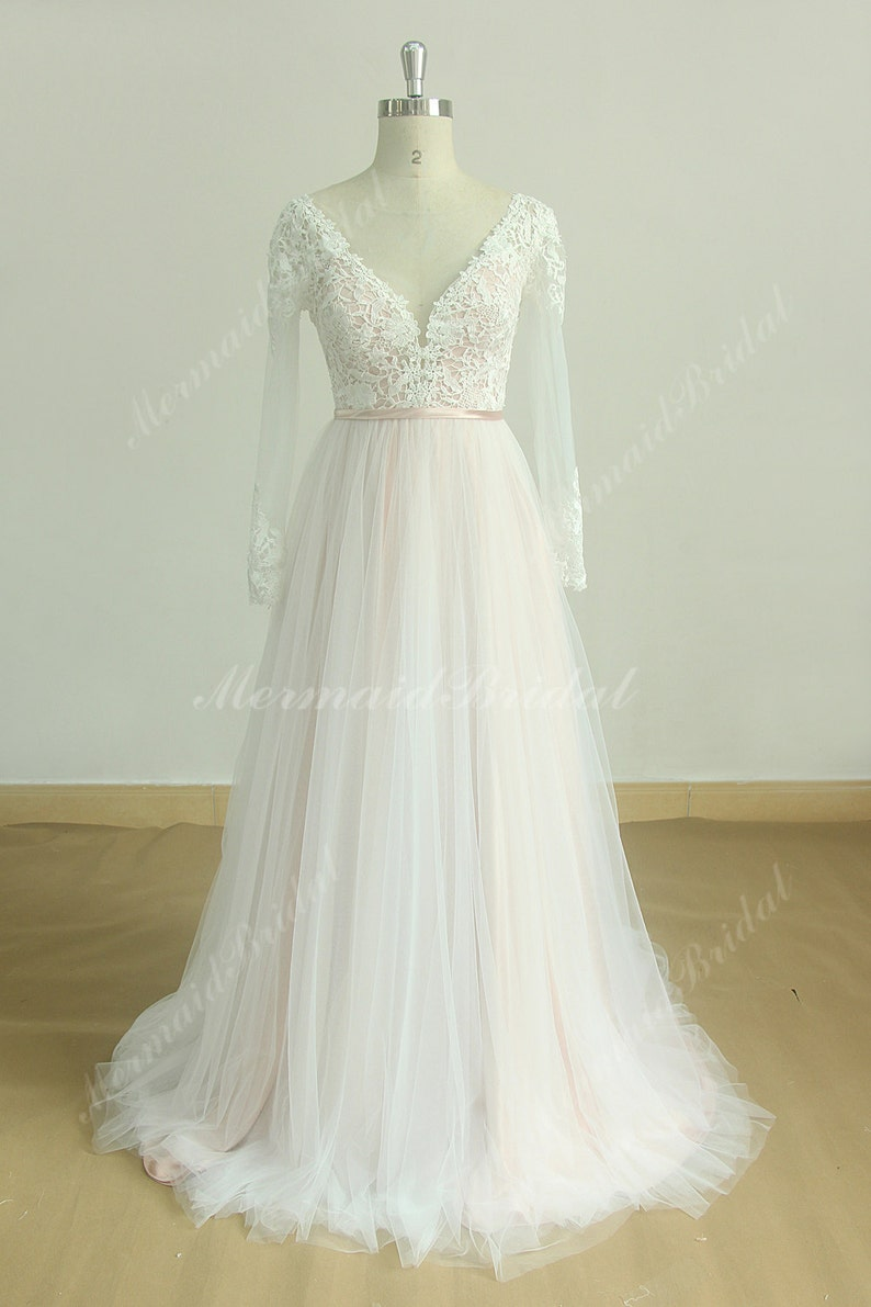 1a4601af44f Deep V Neckline A Line Tulle Lace Wedding Dress with Blush Lining and Long  Sleeves
