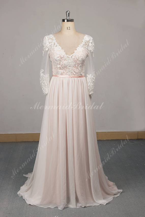 Flowy Aline Chiffon Lace Wedding Dress Long Sleeve Beach Etsy