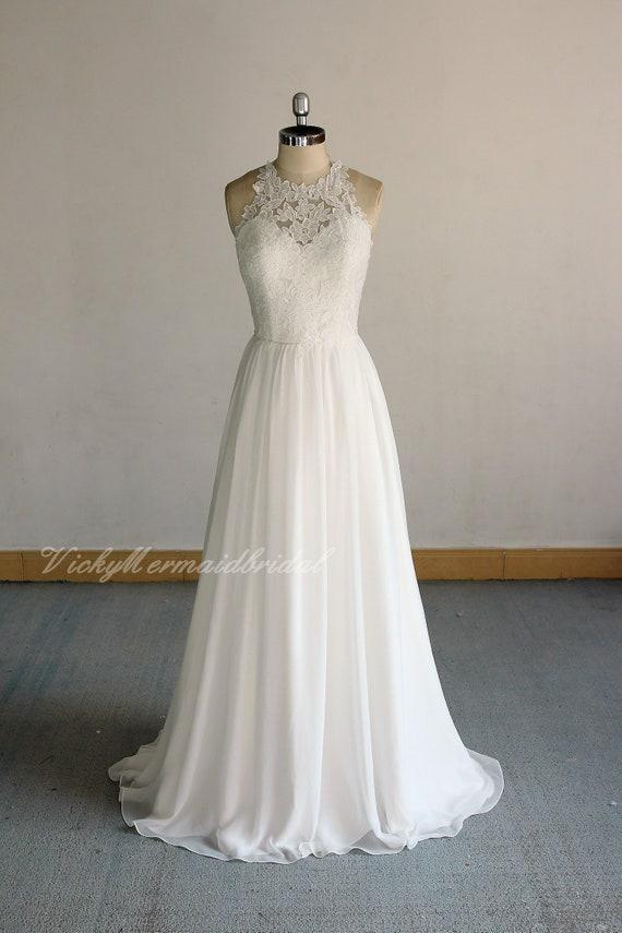 Flowy Ivory Vintage Chiffon Lace Wedding Dress Halter Wedding Dressopen Back A Line Bohomian Wedding Dress With Chapel Train