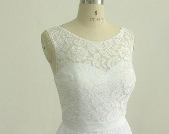 Lovely White vintage tea length lace wedding dress, short wedding dress