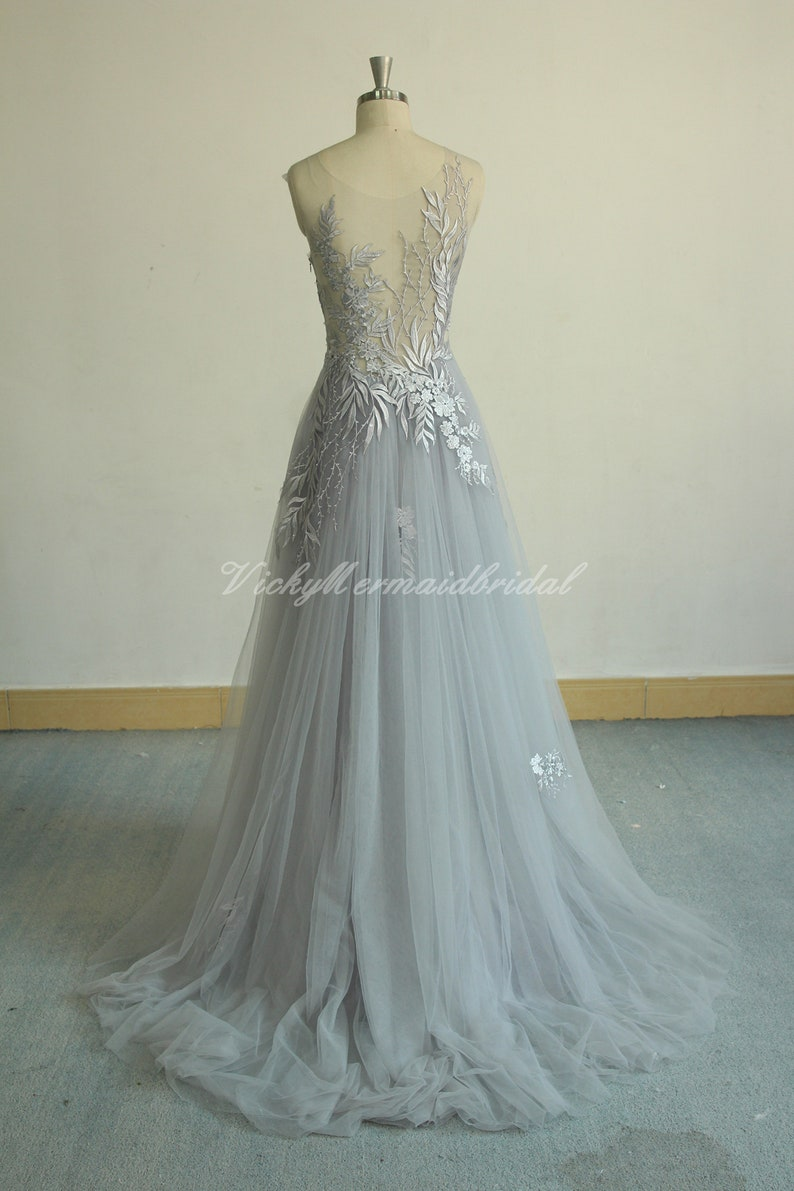 Unique Aline Tulle Lace Wedding Dress Dusty Blue Bridal Gown Boho Wedding Dress Vintage Lace Wedding Dress With Sweetheart Neckline