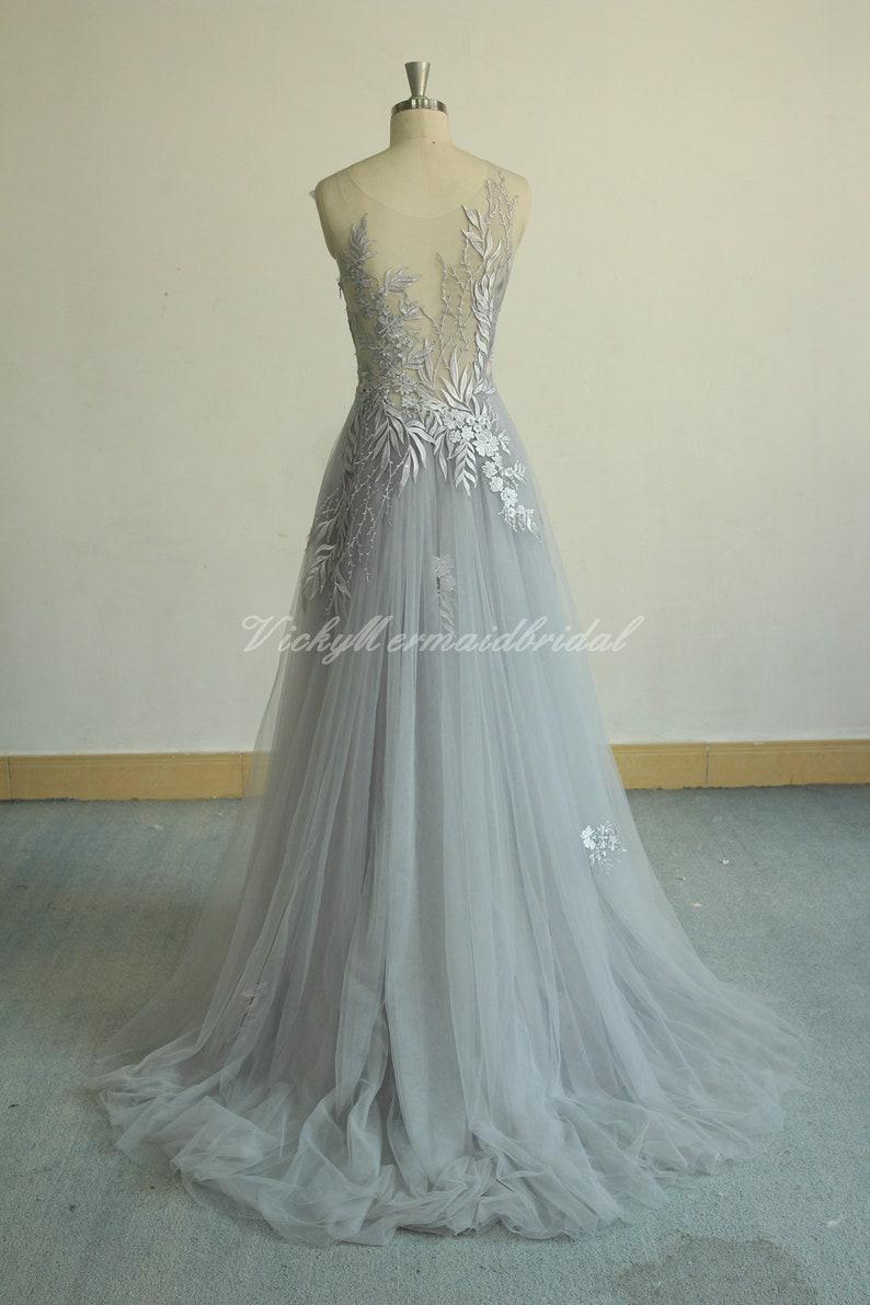 Unique aline Tulle Lace Wedding Dress dusty