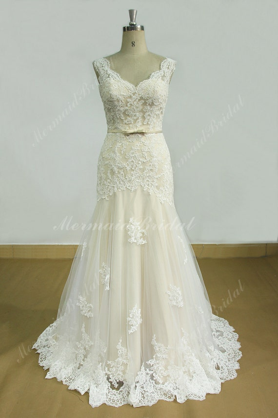 Open Back Fit And Flare Tulle Lace Wedding Dress With Scallop Neckline And Champagne Lining