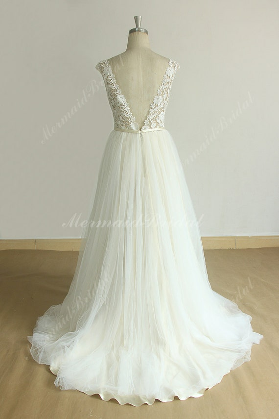 82160e61aad3 Open Back Tulle Lace Wedding Dress with Champagne Lining and