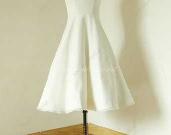 Audrey Hepburn style Ivory tea length Chiffon wedding dress, lovey wedding dress with cap sleeves,outdoor/beach/destination wedding dress