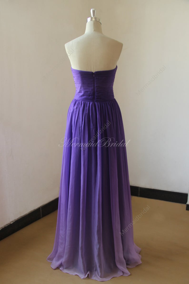Purple Ombre tencel bridesmaid dress,prom dress with sweetheart neckline