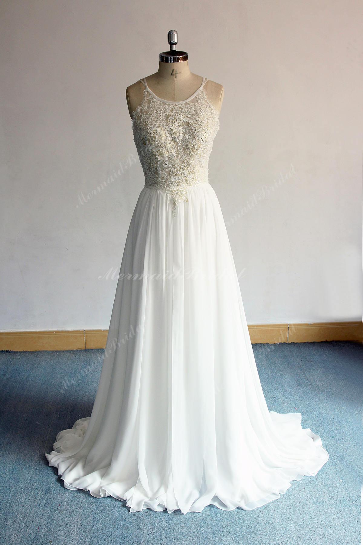 Flowy Aline Boho Lace Wedding Dress Chiffon Lace Wedding Etsy