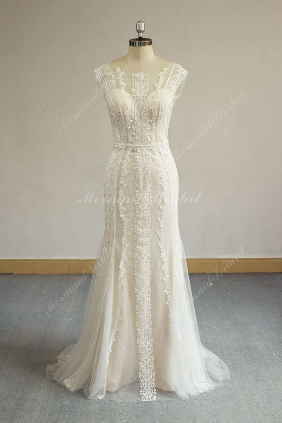 Romantic Open Back Fit And Flare Vintage Lace Wedding Dress Etsy