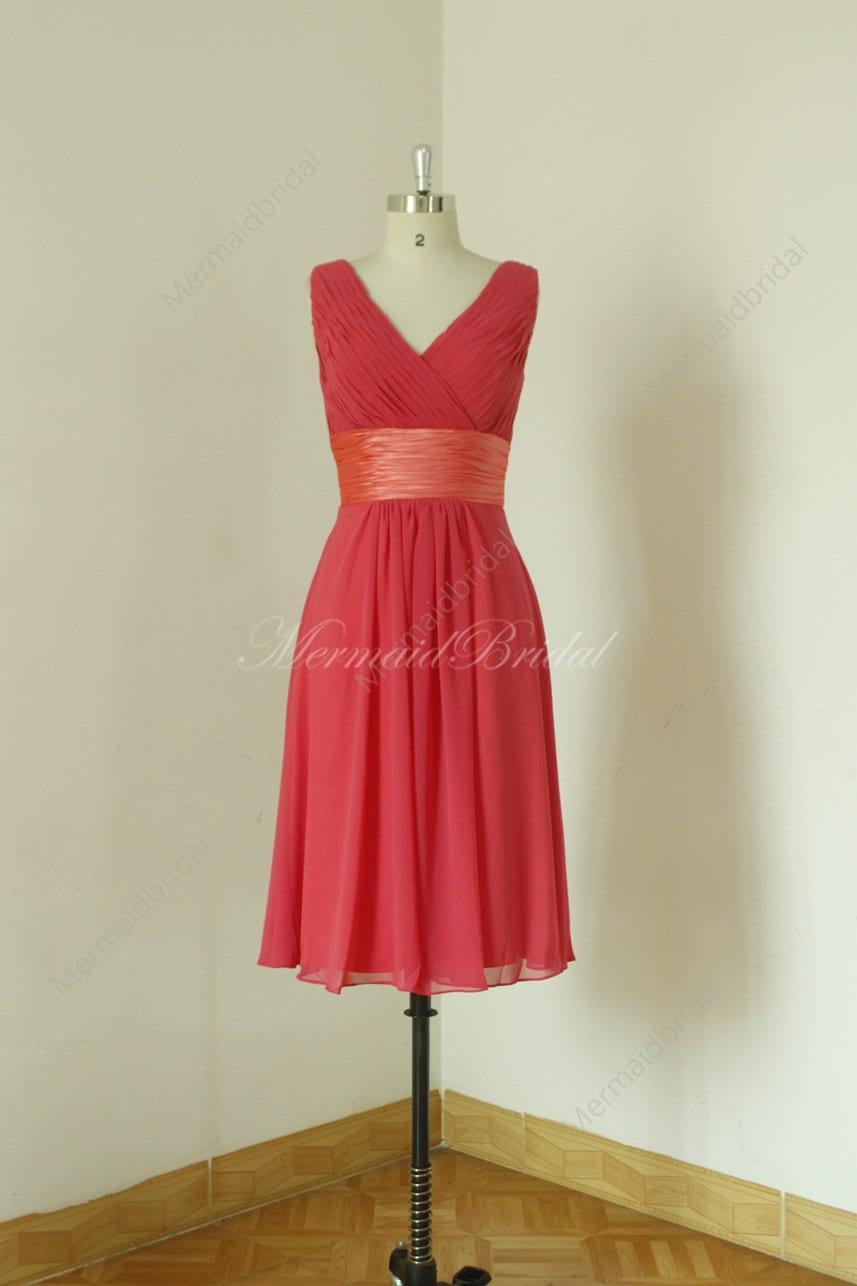 42e3a647b02 Deep v neckline knee length apple red Bridesmaid Dress