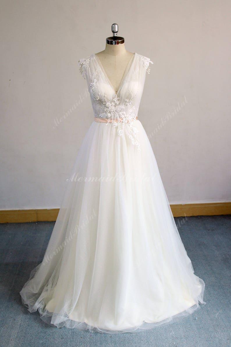 44c78e5e3f Unique Cream Ivory Boho Wedding Dress Beach Wedding Dress | Etsy
