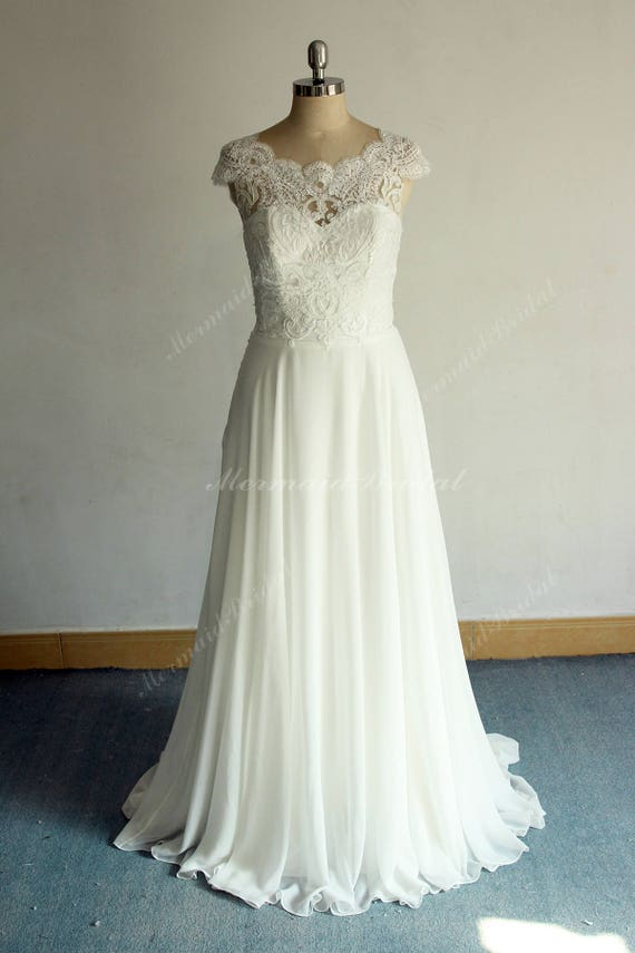 Romantic Ivory Aline Chiffon Lace Wedding Dress Boho Wedding Etsy