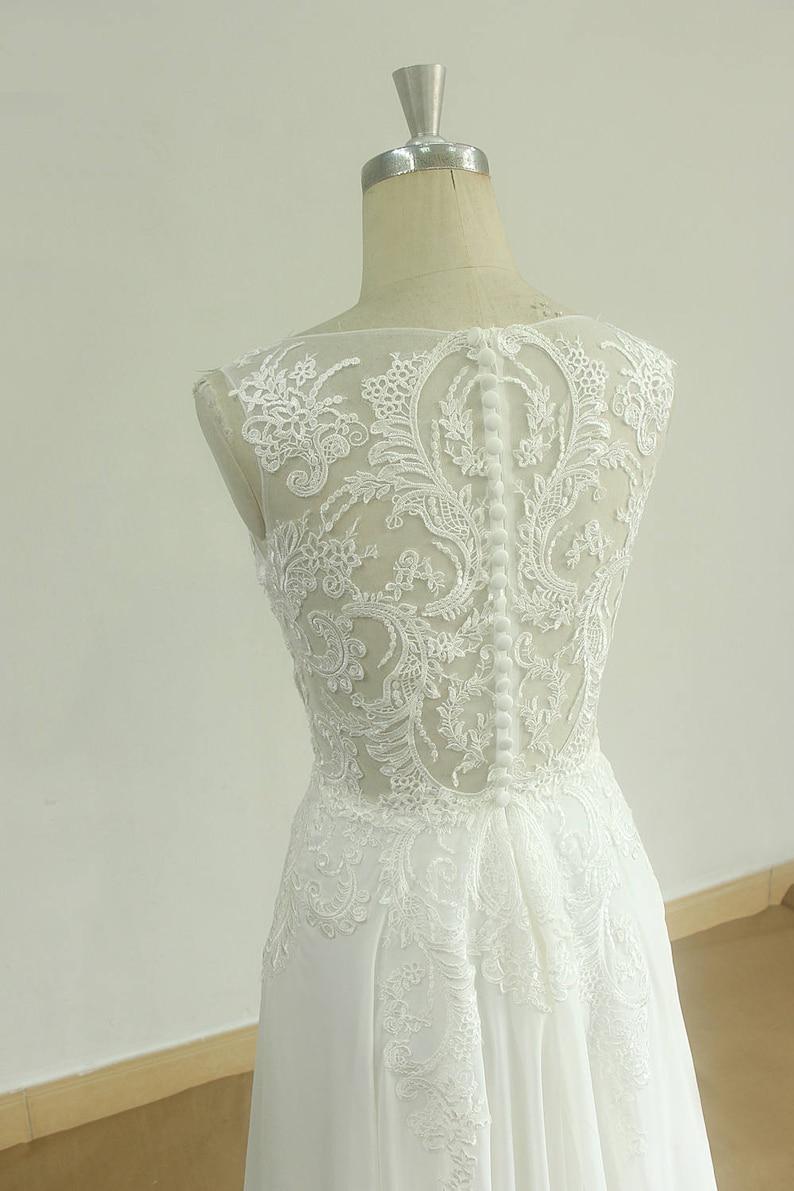 Sleeveless Vintage Chiffon Lace Wedding Dress with Deep V image 1