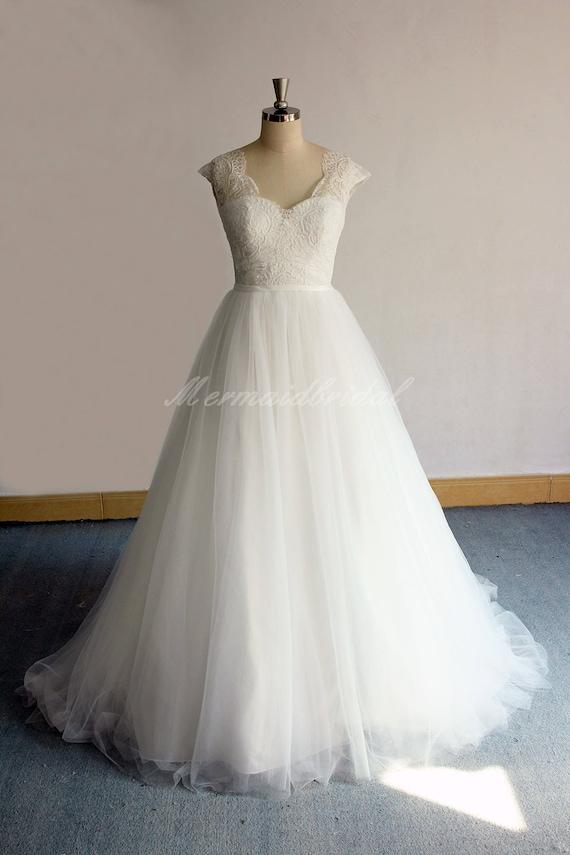 Romantische Elfenbein Tüll Spitze Brautkleid Vintage Spitze