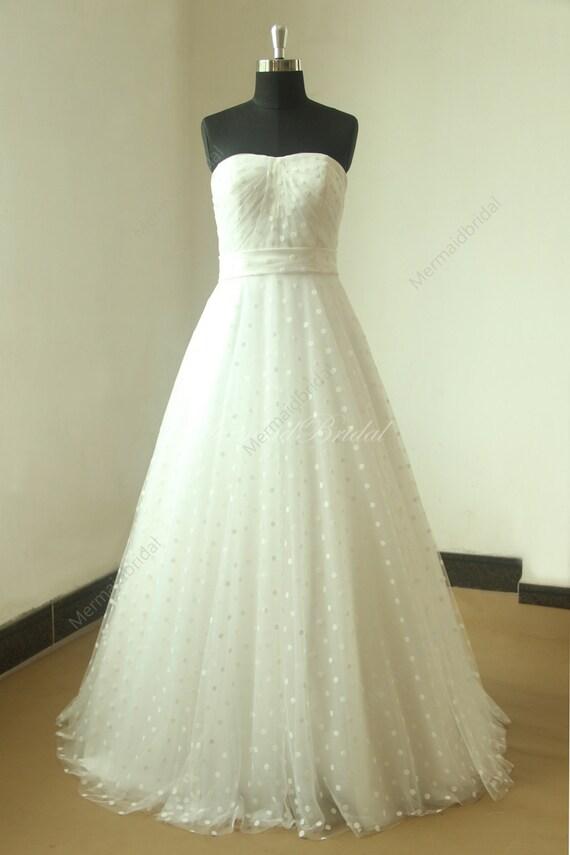 Romantische Elfenbein Linie Punkte Tüll Brautkleid mit   Etsy