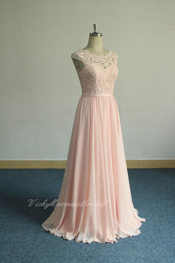 intera collezione migliore qualità selezione migliore Aline rosa cipria romantico chiffon pizzo abito da sposa | Etsy